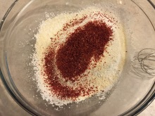 Add strawberry powder to the sugar/flour mix.