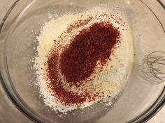 Add strawberry powder to the sugar/flour mix.
